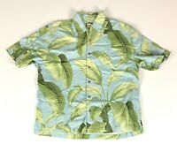 Jamaica Jaxx Hawaiian Shirt Mens Size Large Silk Blue Floral Short Sleeve Aloha