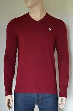 NEW Abercrombie & Fitch Icon Wool-Blend V-Neck Sweater Jumper Burgundy L
