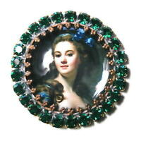 Vintage Style Czech ALL Glass Rhinestone Pin Brooch #T048 - SIGNED