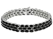 Bracelet Black Spinel 3-Row Sterling Silver Oval cut Platinum over 8 Inch Long