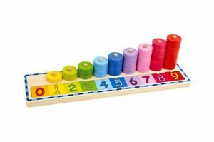 Tooky Toys Wooden Counting Stacker with number tiles and counting discs Age 2+
