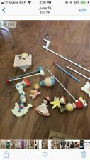 Vintage Mother Goose Baby Crib Wooden Mobile and Wooden Cow Jumping Light 50-60s