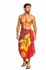 1 World Sarongs Mens Sarong Tropical Floral Hawaiian Sarong in Red