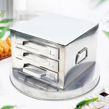 3-layers Drawers Stainless Steel Steamer Kitchen Appliances 39cm with Brush Used