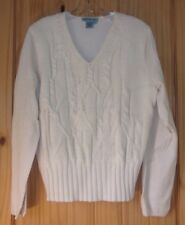 Co & Eddy Vintage Ivory V-neck Sweater w/ Cabled Front Body, Women's L