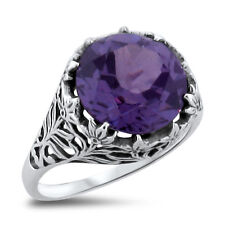 5 CT LAB ALEXANDRITE ANTIQUE FILIGREE DESIGN .925 SILVER RING SIZE 10, #320