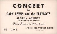 GARY LEWIS AND THE PLAYBOYS 1966 TOUR ALBANY ARMORY UNUSED CONCERT TICKET