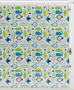 Creative Bath Phish Food Blue & Green Fish Print Vinyl PEVA Clear Shower Curtain