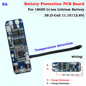 3S 8A  BMS Protection PCB Board 11.1V 12.6V Lithium Li-ion 18650 Battery Charger