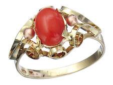 Ring Retro Koralle 585er Gelbgold um 1940-50
