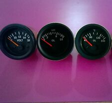 "El Gauges 52mm (3pc) - Oil Pressure Gauge  Bar+  Oil Temp Gauge ""C+  Volt Gauge"
