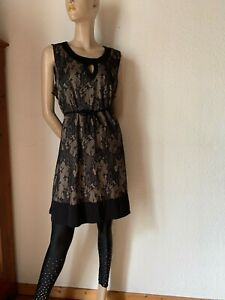 Etuikleid 60er retro schwarz nude Spitze Layering Jersey Twiggy 42 44