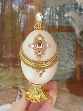 REAL Decorated Carved Duck Egg Engagement Ring Royal Gift Box Collectible Pink