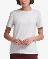 DKNY Foundation Sequin Crewneck Top White Size M Style #P8RHJ467