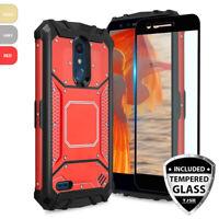For LG K30/Premier Pro Metal Magnetic Support Phone Case+Black Tempered Glass