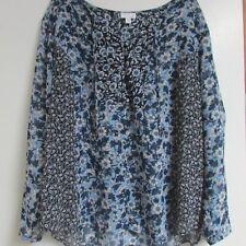 J.Jill Shirt Mixed Daisies 2XL Tie Front Shirt Blue