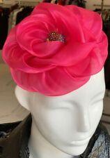 Pink Flower Fascinator With Rhinestone Center