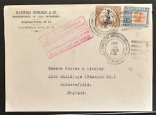GUATEMALA to ENGLAND 1923 Coffee Slogan PostMark on Cover FRONT to Huddersfield