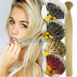 """7A 14""""-24"""" 1G Nano Rings Tip Russian Remy Human Hair Extensions Double Drawn UK"""