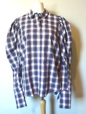 ASOS Check Shirt With Exaggerated Sleeve & Tie Cuffs Size 16 Multi