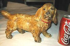 """Antique Cast Iron Hubley # 487 Cocker Spaniel 11 """" Dog Statue Door Art Doorstop"""