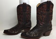 #K WOMENS CORRAL SQUARE TOE COWBOY INLAY LEATHER BROWN BOOTS SIZE 7 M
