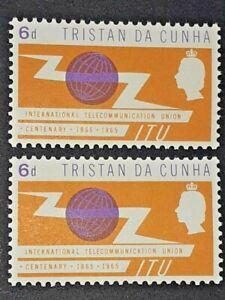 TRISTAN DA CUNHA SG 86var Mounted Mint Error 'Violet Printed Double' Scarce