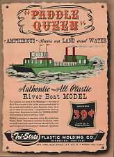 1947 Paper AD 2 Sided Tri State Toy Plastic Mold Jet Queen Boat Paddle Queen