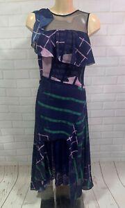 New Three Floors Dusk Dress Navy Lace Midi Dress Size 6