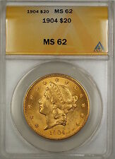 1904 $20 Liberty Double Eagle Gold Coin ANACS MS-62 SB (G)