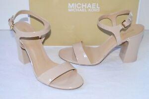 New $125 Michael Kors Tori Sandal Patent Leather Light Blush Beige Chunky Heel