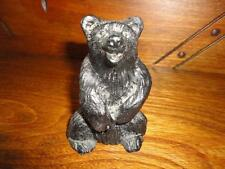 """Canadian Crafted Alberta Real Black COAL BEAR Figurine 3.75"""" Laughing Carved"""