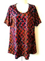 NEW NWOT WOMEN'S LULAROE PERFECT T RED WITH MULTICOLOR PRINT STRETCHY TOP XL