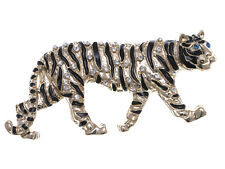 Shiny Golden Clear Crystal Rhinestone Stripe Big Cat Tiger Pin Brooch Gifts Men