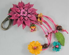 HANDMADE GENUINE LEATHER KEYCHAIN FLOWER KEYRING CHARM FLORAL PURSE DARK PINK