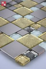 Glasmosaik Mosaikfliesen Mosaike Mosaik Glas Edelstahl Silber Gold Weiß 30x30cm