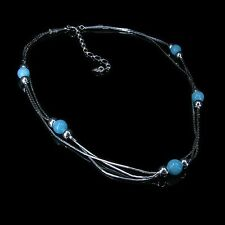 PETITE 3 Strand .925 Sterling Silver Natural Amazonite Beaded Necklace
