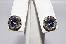 $1,550 1.70CT NATURAL PURPLISH BLUE TANZANITE & DIAMOND HALO EARRINGS 14K GOLD