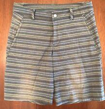 "LULULEMON Men's Size 34 Stretch Woven 10.5"" Inseam Shorts BROWN BLUE STRIPES"