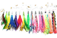 15X Big Game Fishing Skirted Trolling Lures Rigged Bullets Feathers Marlin 1