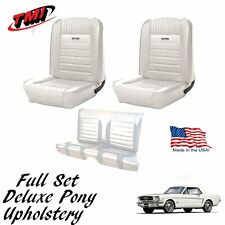 1964 - 1966 Mustang Front and Rear Deluxe PONY Upholstery - White - In Stock!