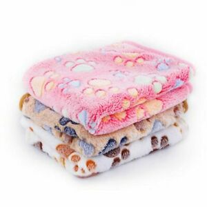 Warm Pet Mat Paw Print Cat Dog Puppy Fleece Soft Blanket Bed Cushion SML Size