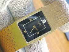 Bulova Diamond Dial 70s Retro Mens Gold Plated Quartz Wrist Watch-Model 92M54-8Y