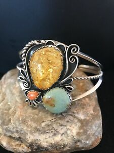 Native Am Navajo Sterling Silver AMBER Spiny Green Turquoise Cuff Bracelet 8522