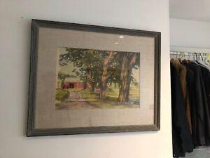 "Framed matted Associated American Artists ""Sunlit Patterns"" Luigi Lucioni 1938"