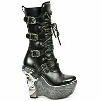 NEWROCK Ladies PZ003-S4 Black Gothic Style Real Leather Lace Up Wedge Heel Boots