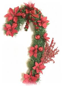 Christmas Wreath For Door/Windows Candy Pine With Red Poinsettias/Balls WR00004