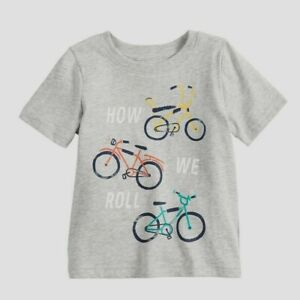 NWT Toddler Boys 24M HOW WE ROLL Short Sleeve Shirt Gray Jumping Beans Bicycles