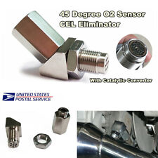 45° Check Engine Light O2 Sensor CEL Eliminator Adapter with Catalytic Converter
