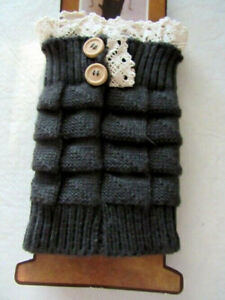 Women Crochet Knitted Lace Trim Boot Cuffs Toppers Leg Warmers Great for Boots